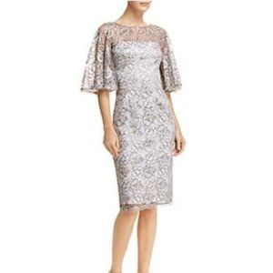 Adrianna Papell Flutter Sleeve Lace Sheath Dress